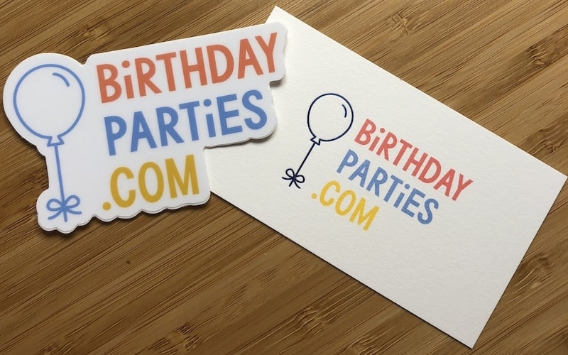 BirthdayParties.com Biz Card + Sticker