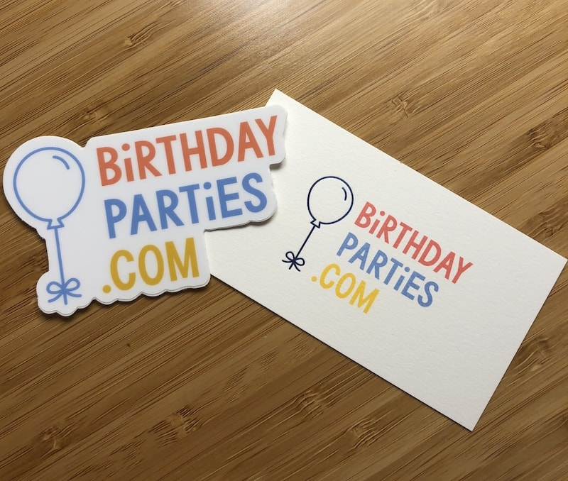 BirthdayParties.com Sticker and Business Card