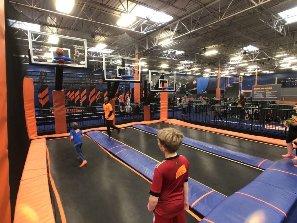 Basketball Slam Dunk area at Sky Zone in Roswell, GA